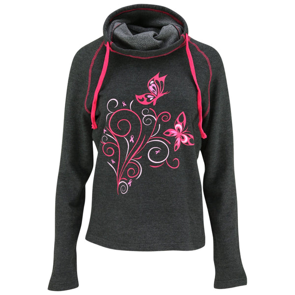 Pink Ribbon Butterfly Cowl Neck Pullover