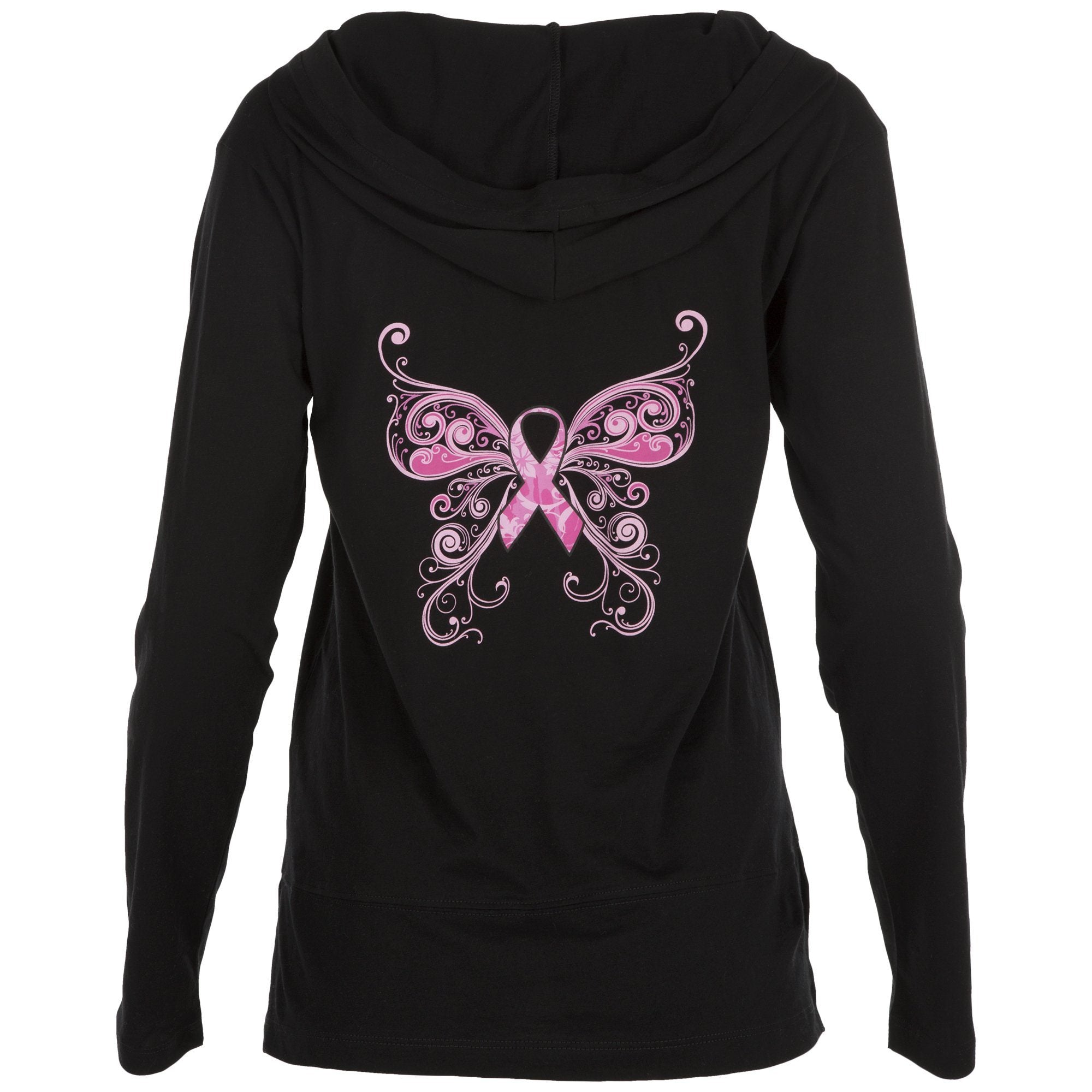 Pink Ribbon Butterfly Women S Hooded Pullover Breast Cancer