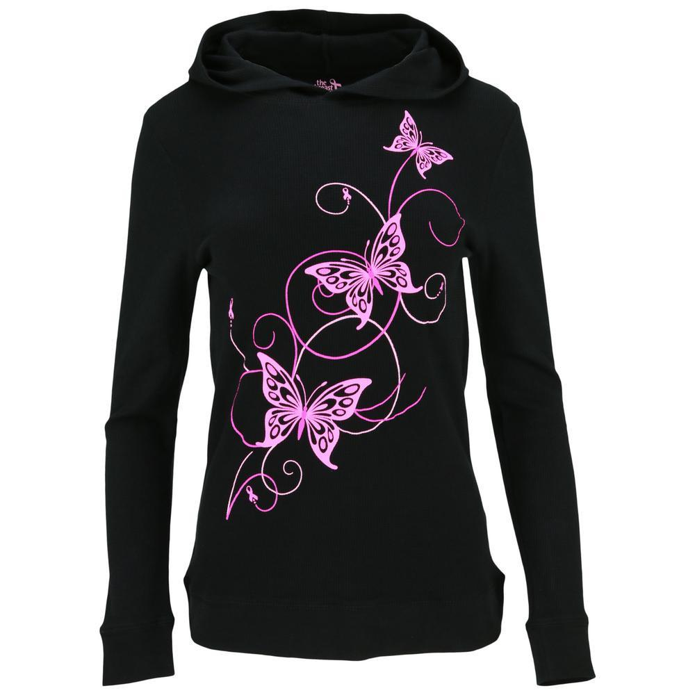 Pink Ribbon Butterfly Lightweight Thermal Hoodie