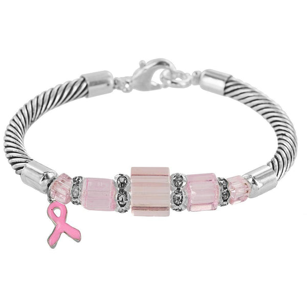 Pink Ribbon Cable Bracelet