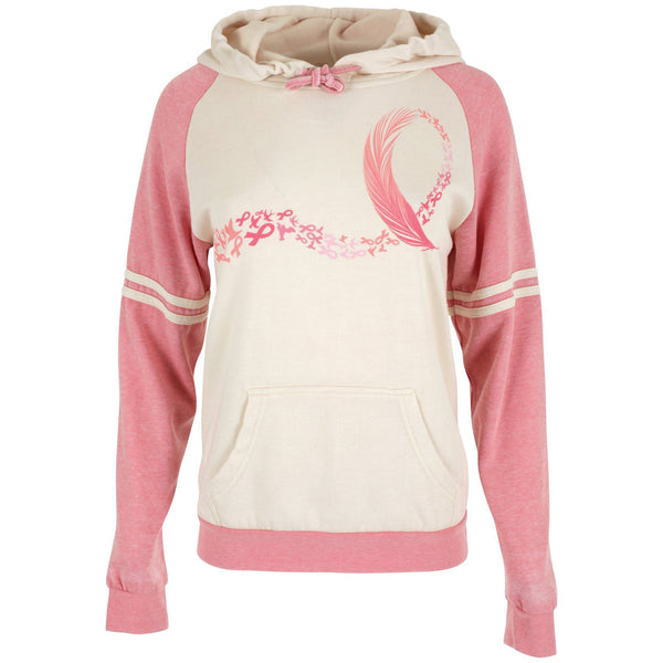Pink Ribbon Feather Hooded Sweatshirt