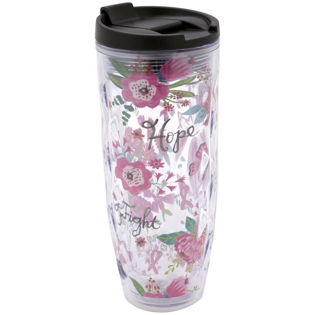 Pink Ribbon Garden Travel Tumbler