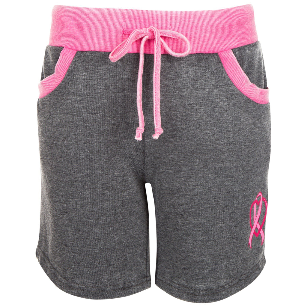 Pink Ribbon Heart Burnout Shorts