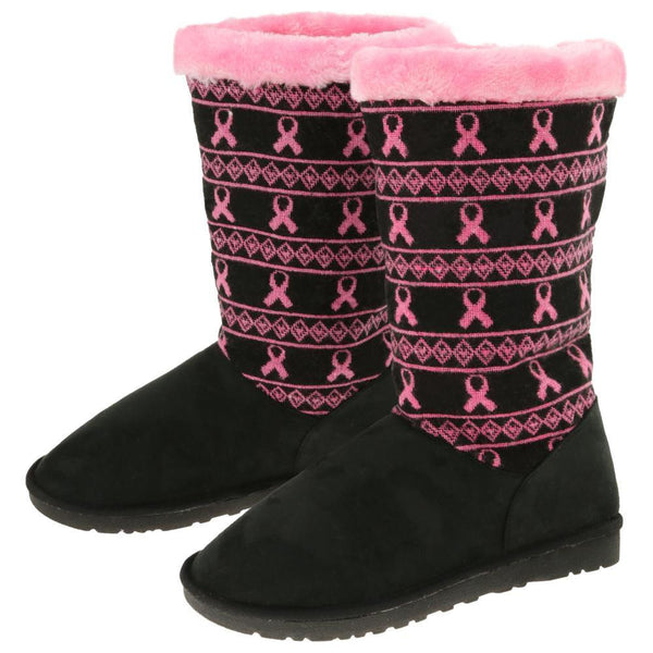 Pink Ribbon Knit Boots