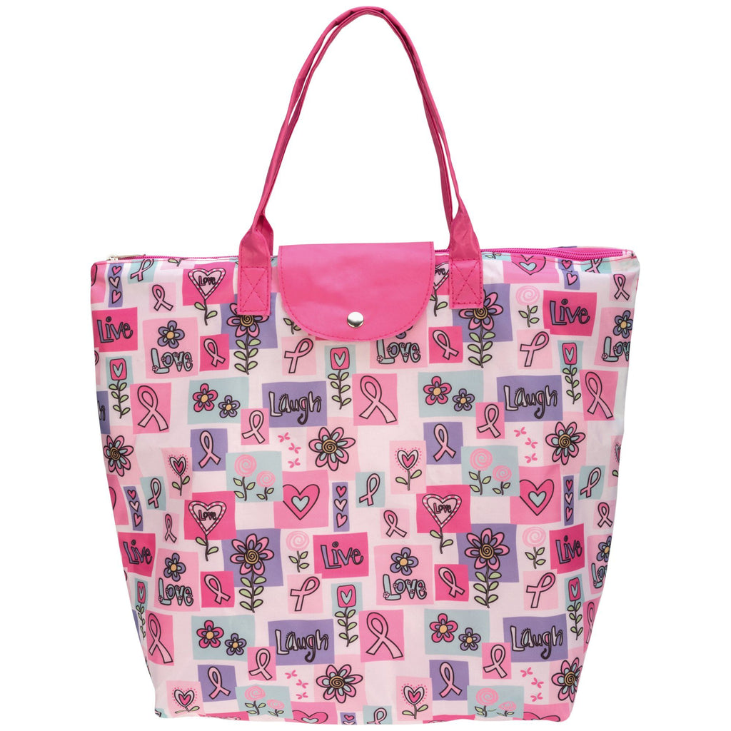 Pink Ribbon Love Folding Tote