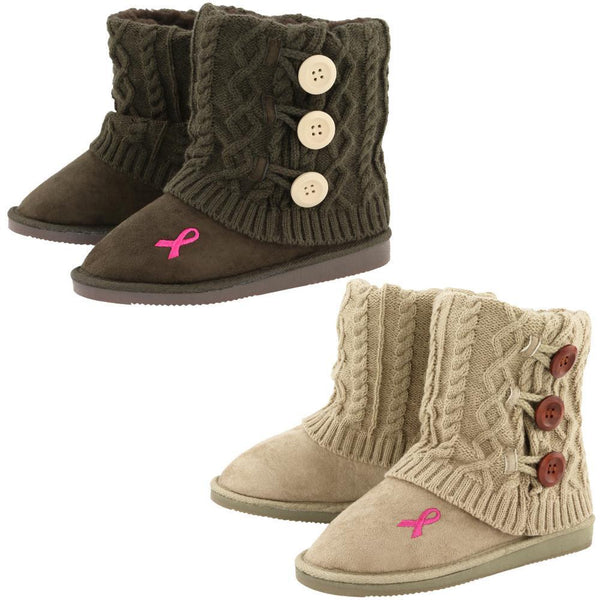 Pink Ribbon Mid Rise Knit Boots