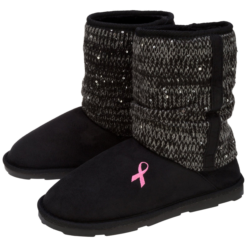 Pink Ribbon Mid Rise Sparkle Knit Boots