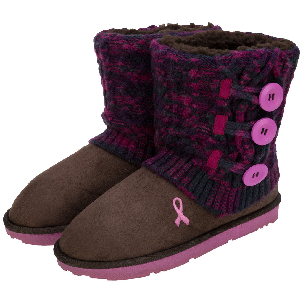 Pink Ribbon Multicolored Knit Mid Rise Boots