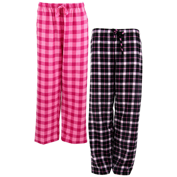 Pink Ribbon Plaid Flannel Lounge Pants
