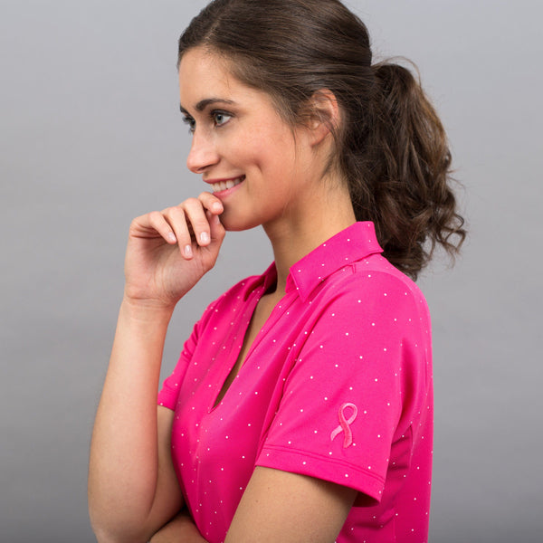 Pink Ribbon Polka Dot Polo Shirt