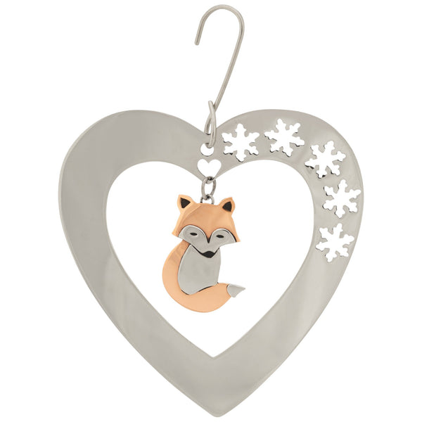 Playful Fox & Snowflakes Ornament