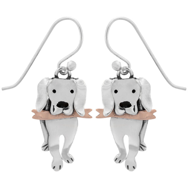 Playful Labrador Sterling Earrings