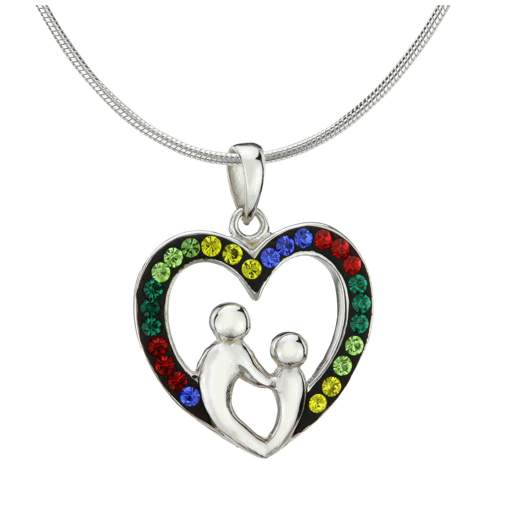 Preciosa Crystal Heart Mother & Child Sterling Necklace