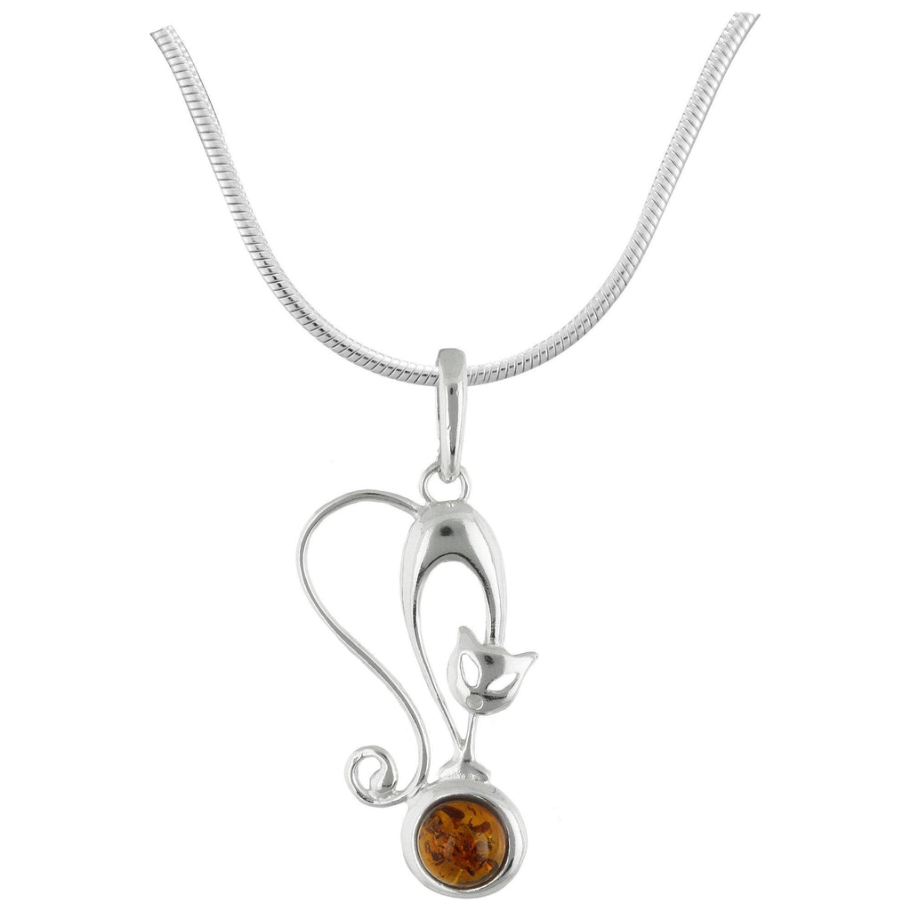 Pretty Cat Amber & Sterling Necklace