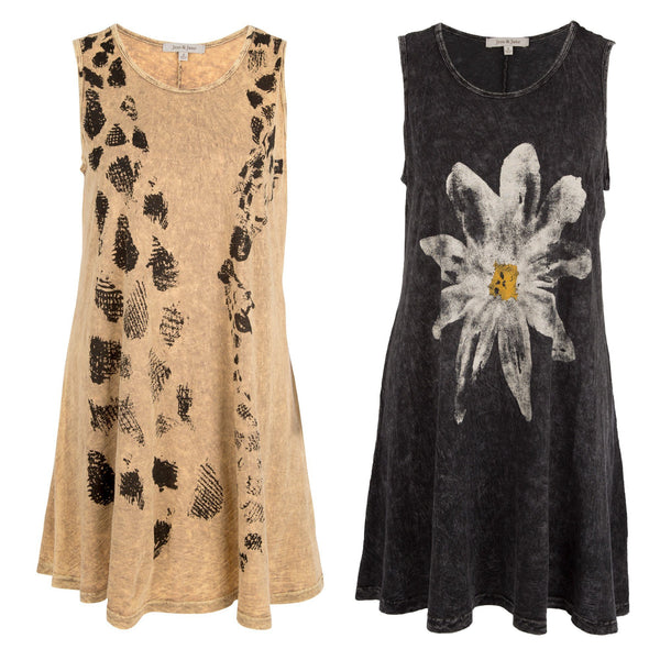 Printed Mineral Wash Sleeveless Tunic