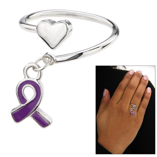 Promo - PROMO - Alzheimer's Awareness Heart Adjustable Ring