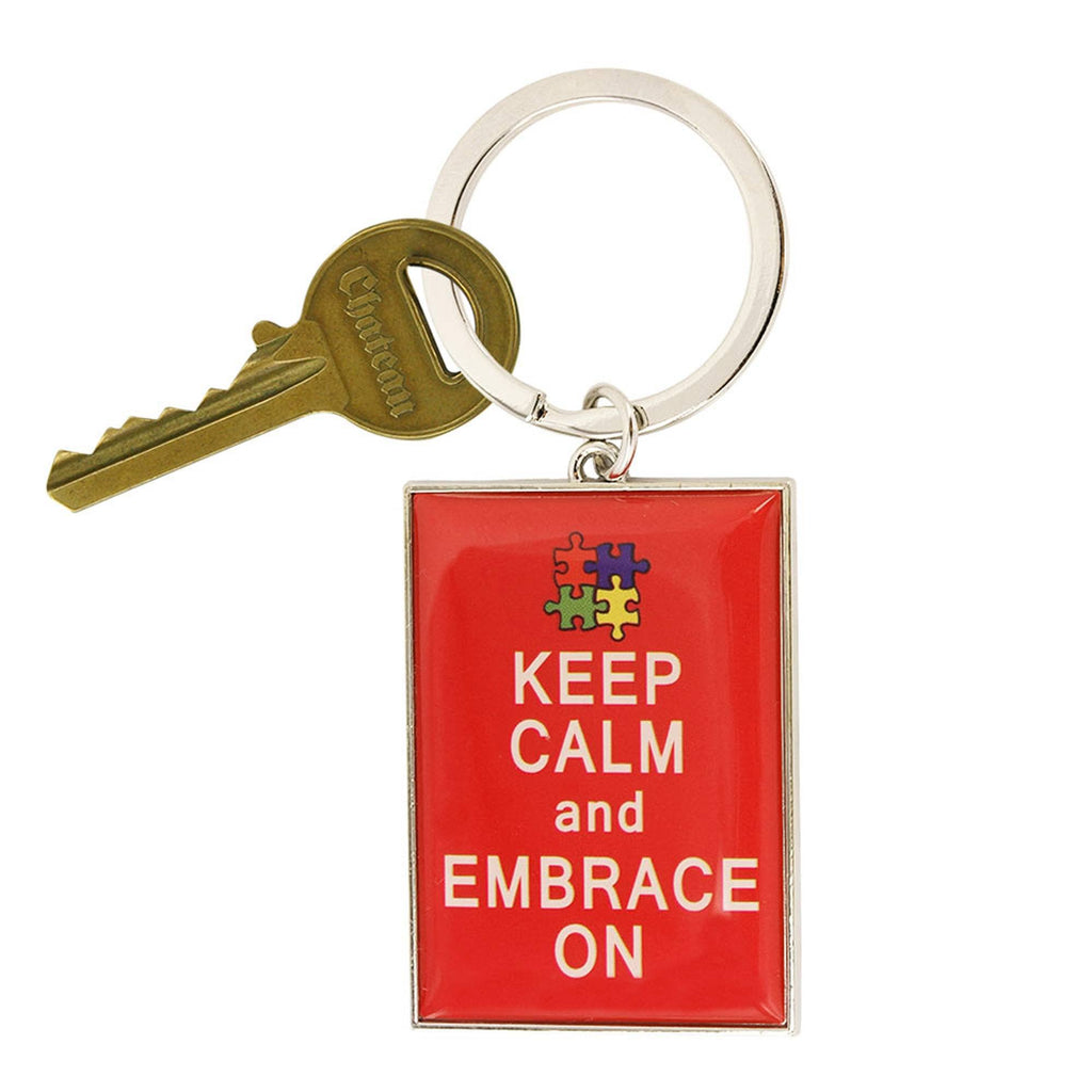 Promo - PROMO - Keep Calm & Embrace On Autism Awareness Keychain