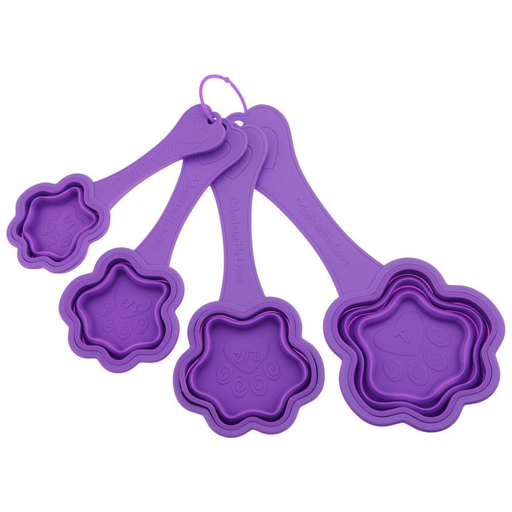 Promo - PROMO - Made With Love Purple Paw Collapsible Measuring Cups