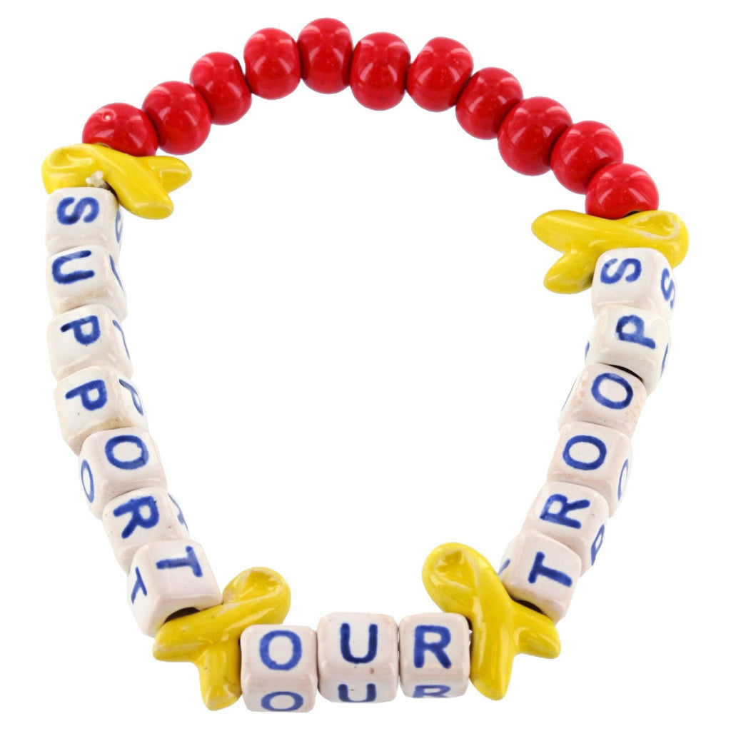 Promo - PROMO - Supporting Our Troops Ceramic Bead Bracelet