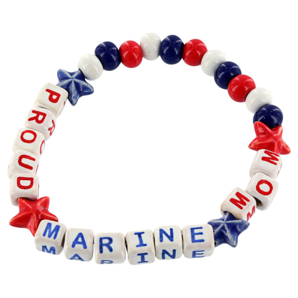 Proud Marine Mom Ceramic Bead Bracelet