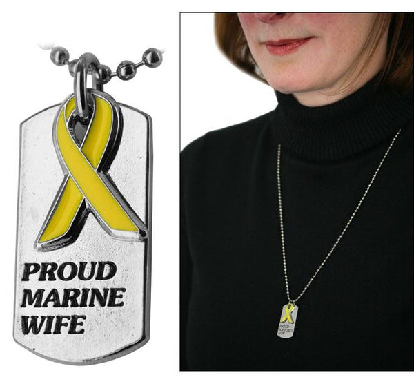 Proud Marine Wife Yellow Ribbon Dog Tag Necklace