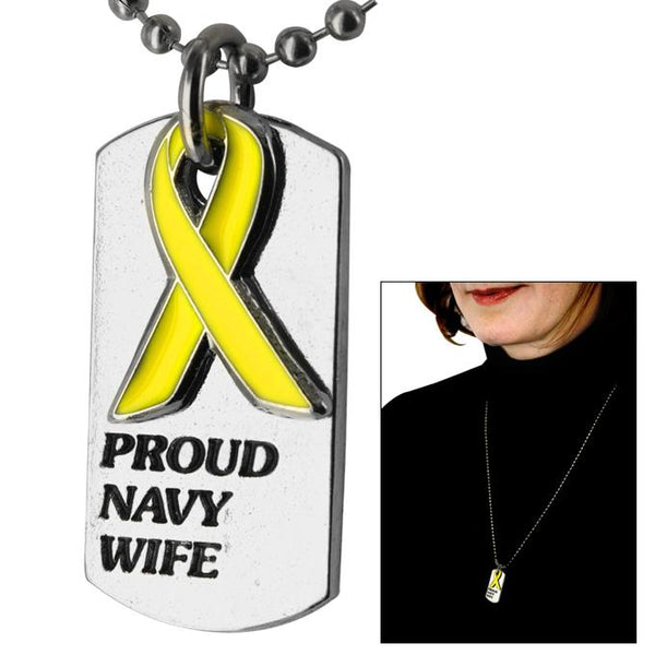Proud Navy Wife Yellow Ribbon Dog Tag Necklace