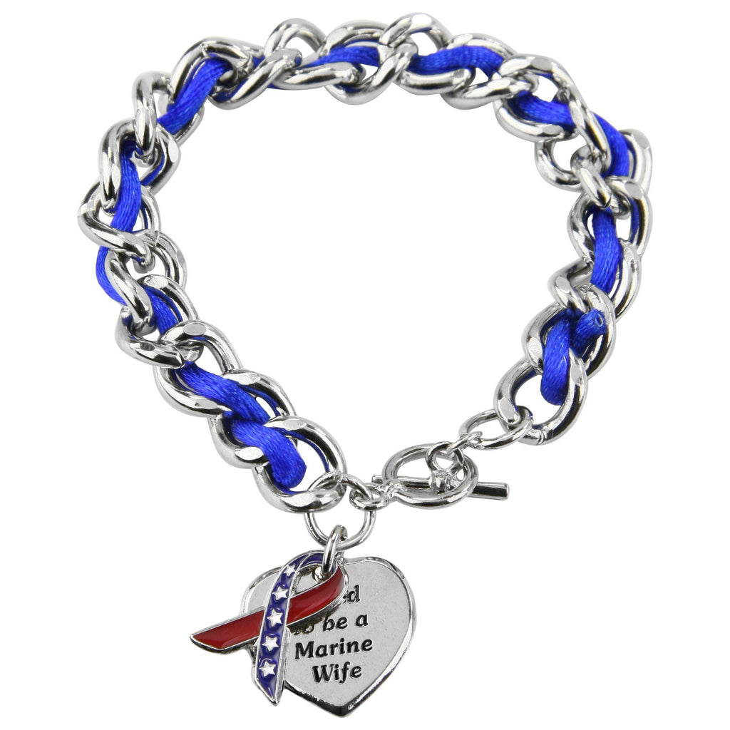 Proud To Be A Marine Wife Ribbon Charm Bracelet