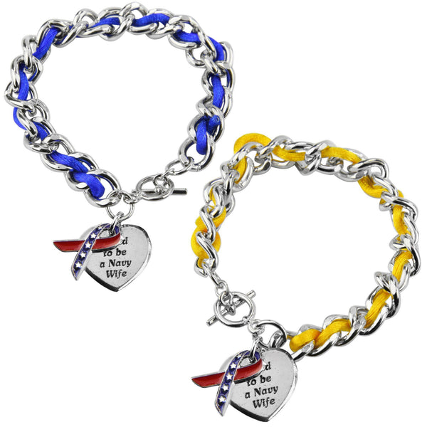 Proud To Be A Navy Wife Ribbon Charm Bracelet