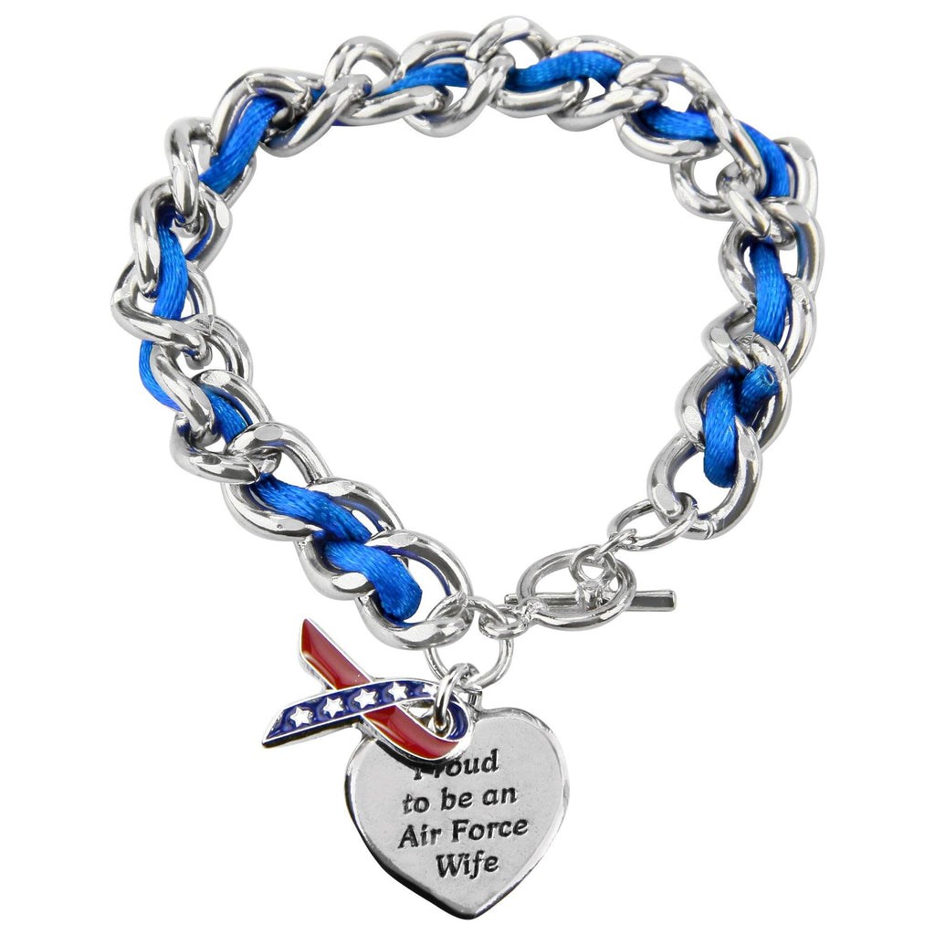 Proud To Be An Air Force Wife Ribbon Charm Bracelet