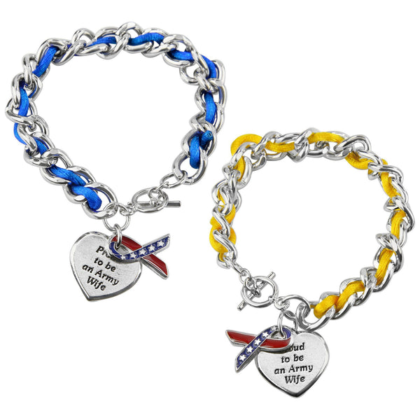 Proud To Be An Army Wife Ribbon Charm Bracelet