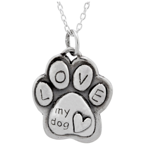 Puffy Paw Print Sterling Necklace