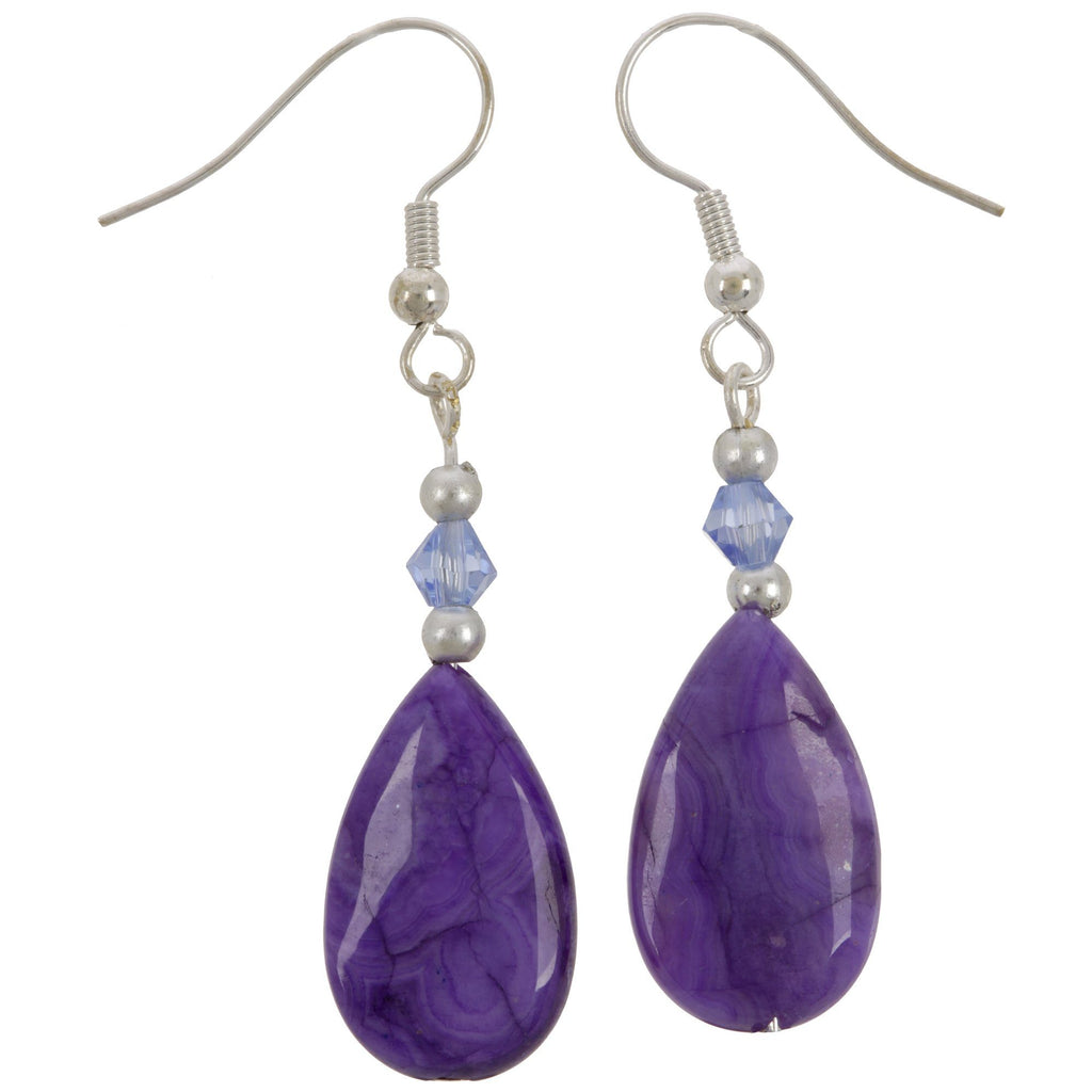Purple Crazy Lace Teardrop Earrings