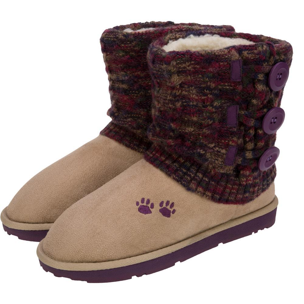 Purple Paw Multicolored Knit Mid Rise Boots