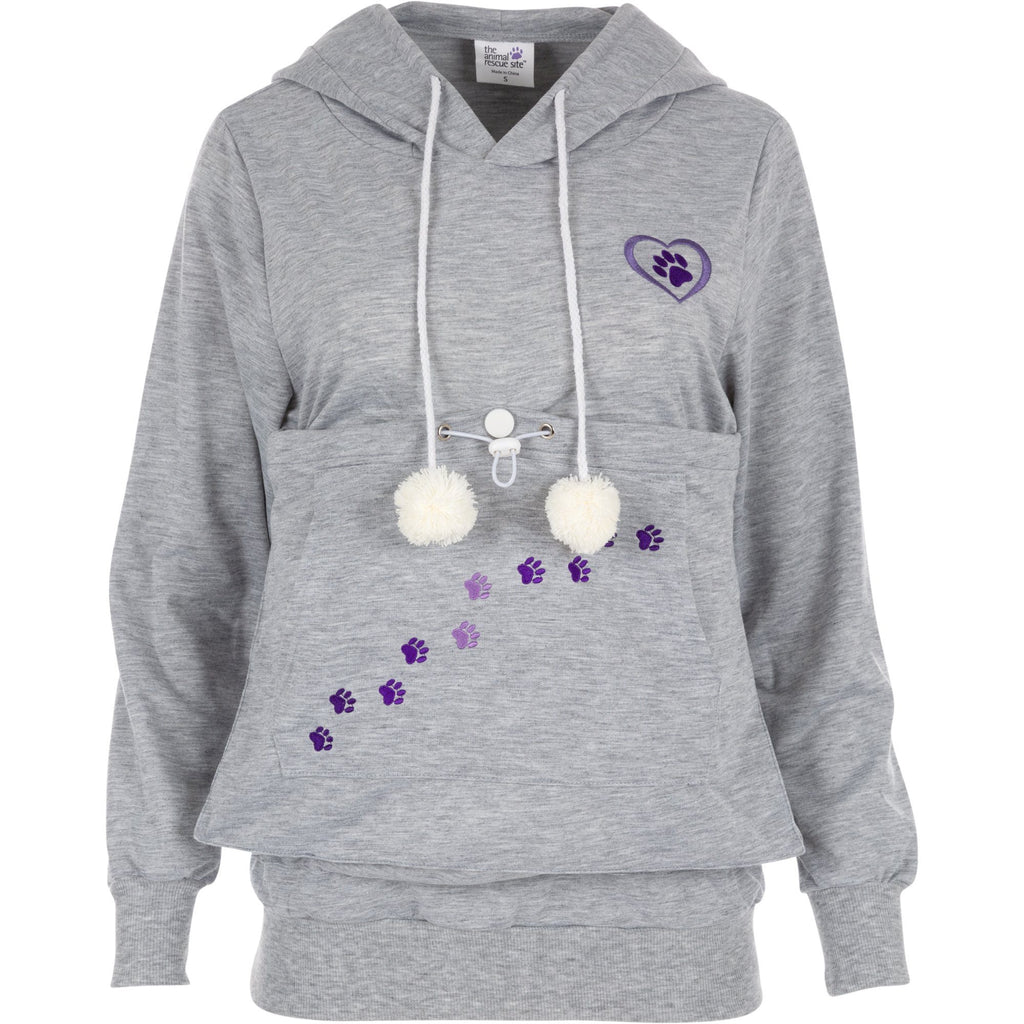 Purple Paw Pet Pouch Hooded Sweatshirt