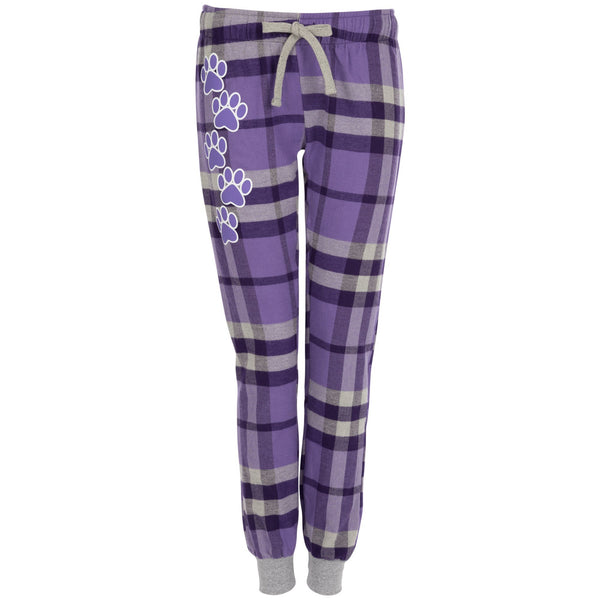 Purple Paw Plaid Flannel Joggers