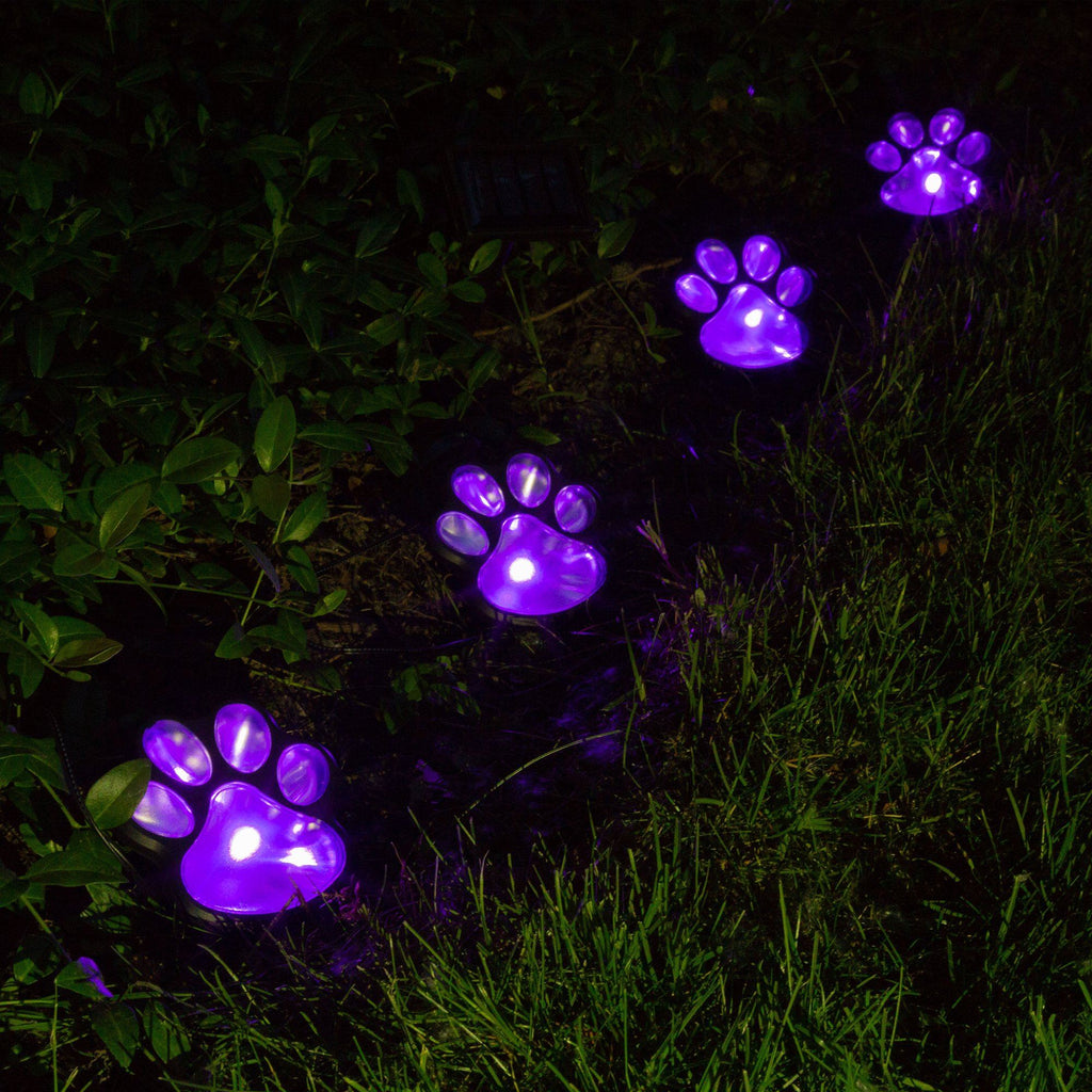 Purple Paw Solar Ground Lights Set