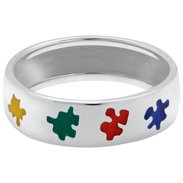Puzzle Piece Autism Awareness Sterling Ring