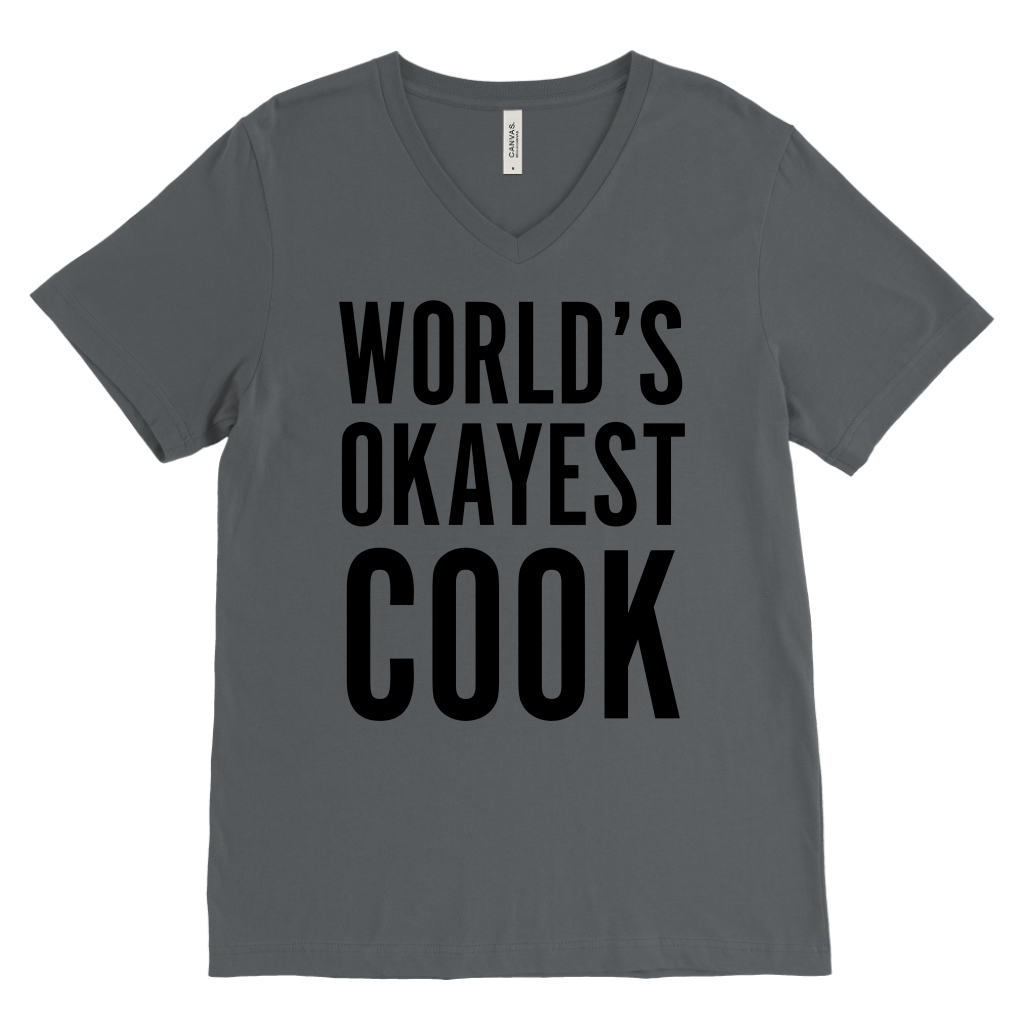 T-shirt - World's Okayest Cook V-Neck T-Shirt