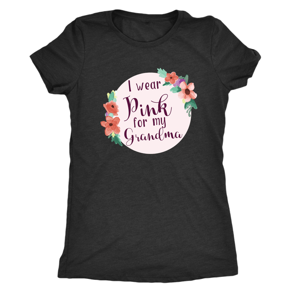 T-shirt - Pink For My Grandma Triblend Fitted Tee