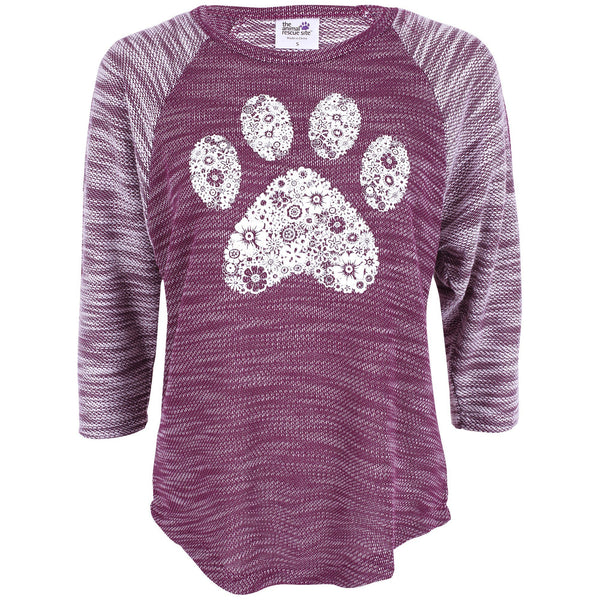 Raglan Sleeve Knitted Paw Print Top