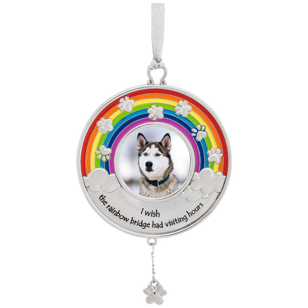 Rainbow Bridge Paw Print Photo Ornament
