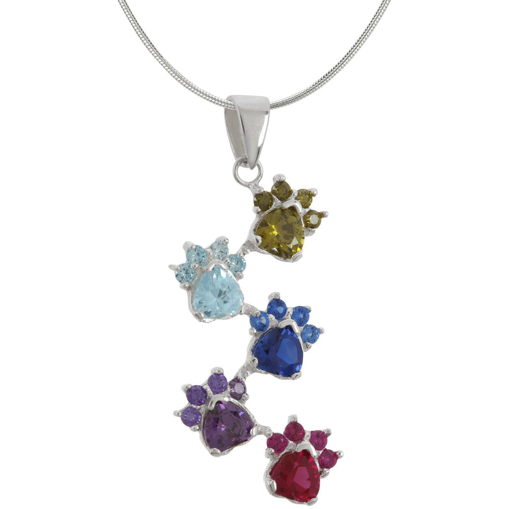 Rainbow Of Paws Sterling Necklace