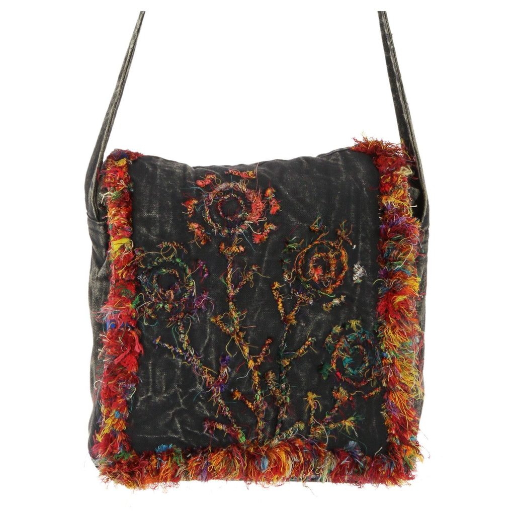 Recycled Silk Night Flowers Crossbody Bag