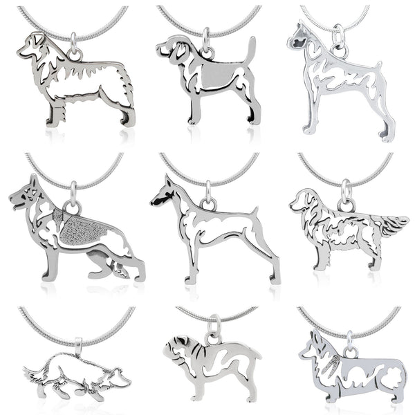 Recycled Sterling Dog Breed Necklace