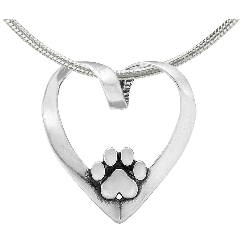 Recycled Sterling Paw Print Heart Necklace