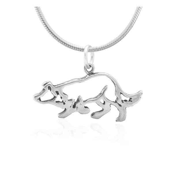 Recycled Sterling Petite Crouching Border Collie Necklace