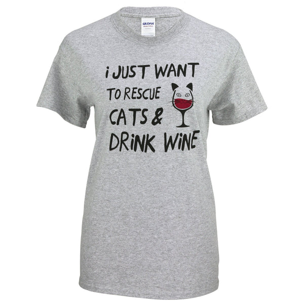 Rescue Cats & Drink Wine T-Shirt