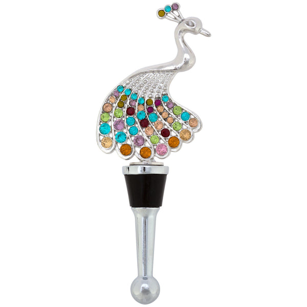 Rhinestone Peacock Bottle Stopper