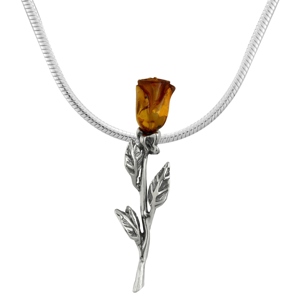 Rose Amber & Sterling Necklace