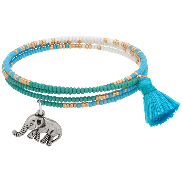 Save The Elephants Tassel Wrap Bracelet